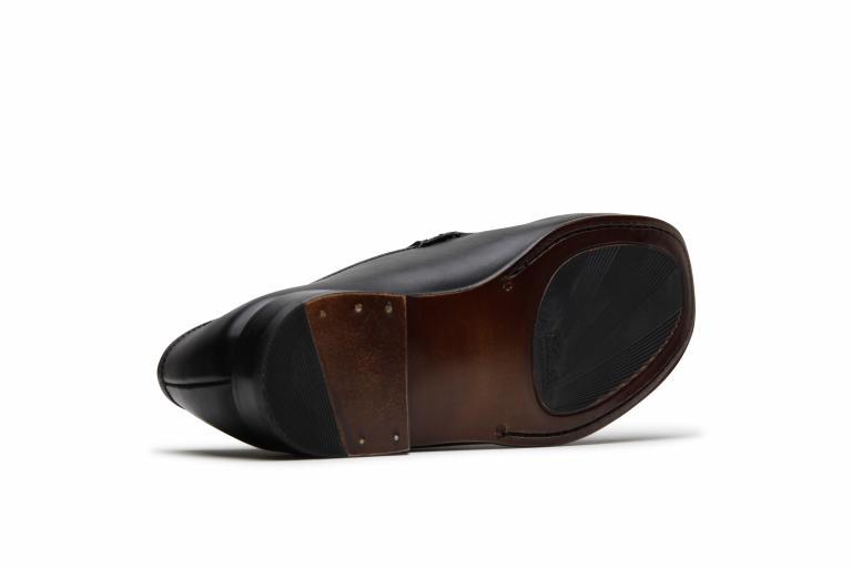 Argeles Lisse noir - Semelle cuir+pat