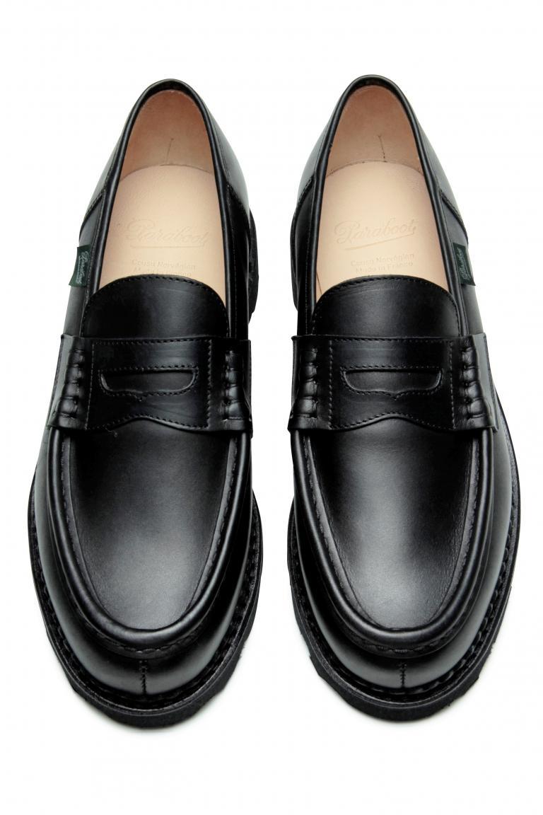 Reims Lisse noir - Genuine rubber sole