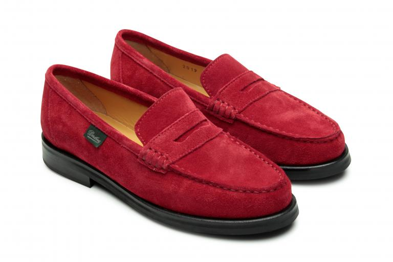 Vitry Velours rouge - Semelle pave+tal cuir