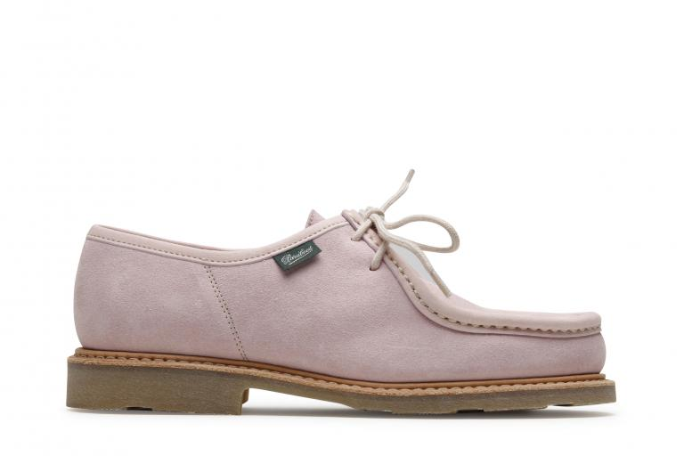 Mirabelle Velours rose - Genuine rubber sole