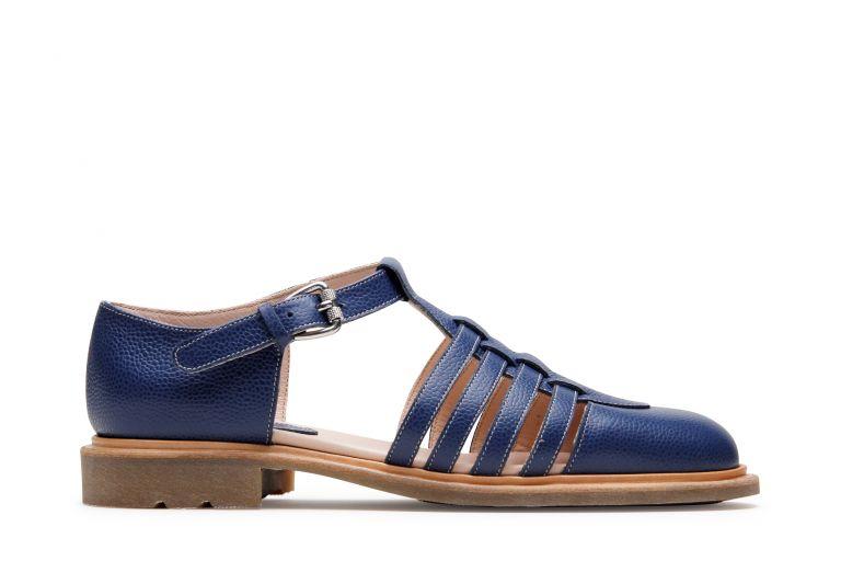 Molene Grainé bleu - Genuine rubber sole